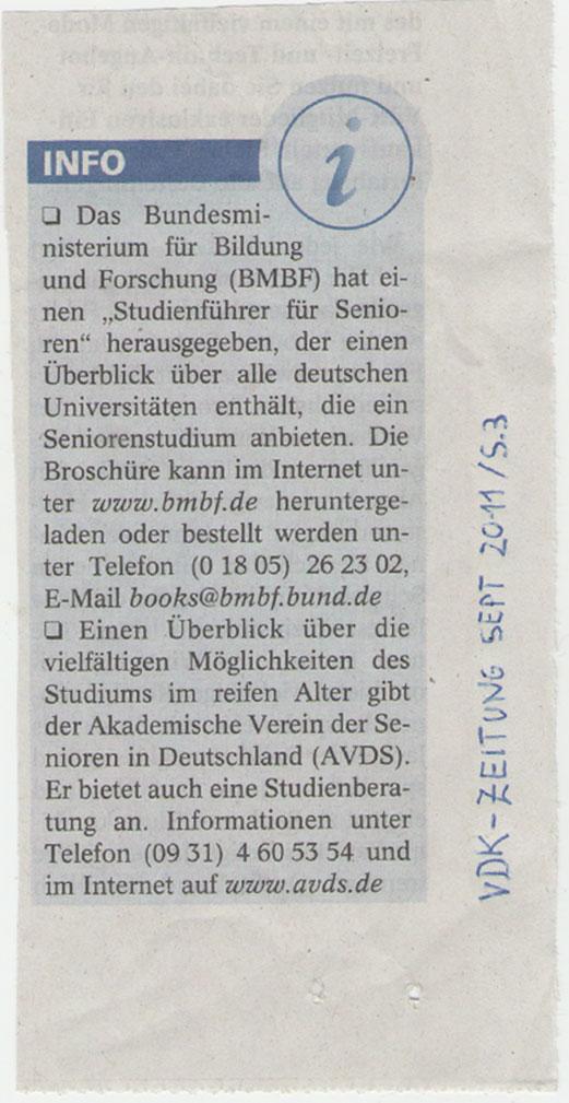 AVDS in VdK-Zeitung